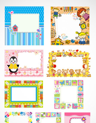 儿童彩色卡通相框设计素材