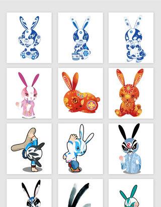 手绘卡通中国风兔子系列素材