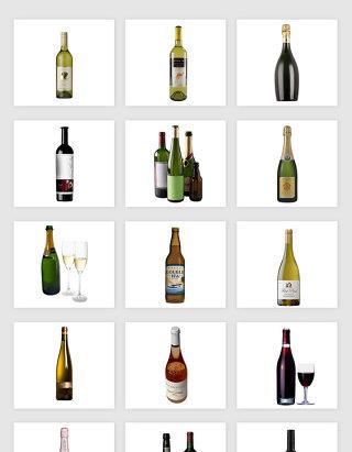 高清免抠红酒洋酒png素材