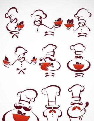 厨师卡通抽象矢量图标图形