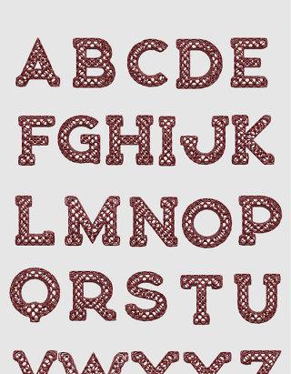 红杉木镂空字母3D立体建模设计素材