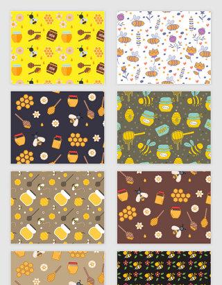 矢量手绘卡通可爱蜂蜜蜜蜂无缝拼接底纹