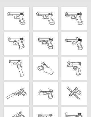 矢量手绘线描手枪素材