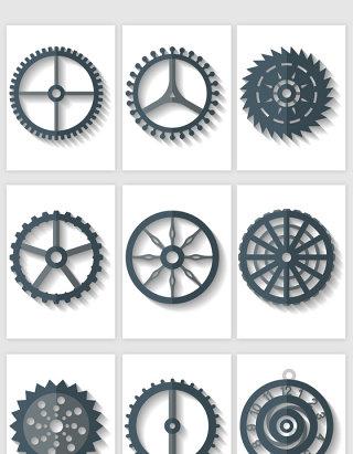 机械齿轮剪影矢量素材
