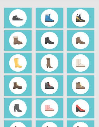 矢量帆布鞋靴子高跟鞋素材