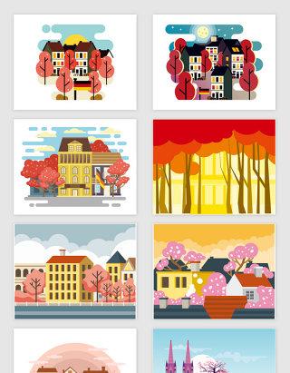 矢量卡通春天城市风景插画