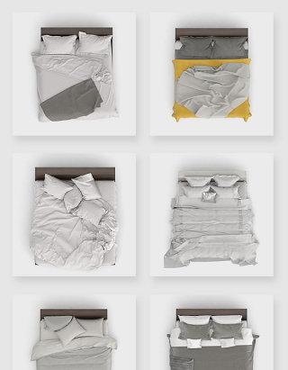家纺家居品牌双人床展示贴图样机