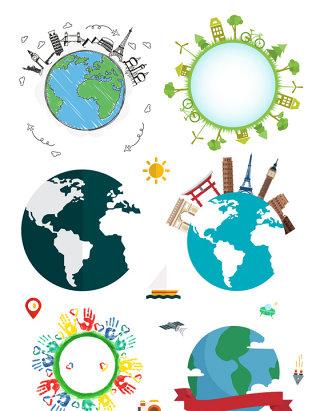 绿色地球环球旅行矢量素材