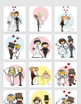 婚礼卡通人矢量元素