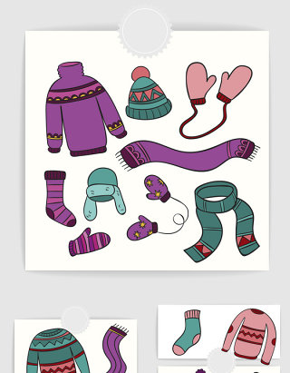 手绘卡通冬季温暖毛衣服装配饰素材