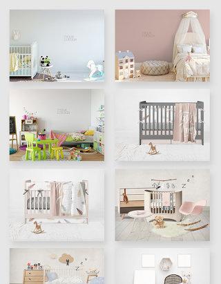清新婴儿房间布置装饰场景贴图样机素材