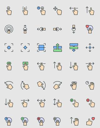 互联网科技触屏手势图标UI素材