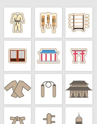 练功服武士剑建筑物沙袋木桩卡通矢量图形