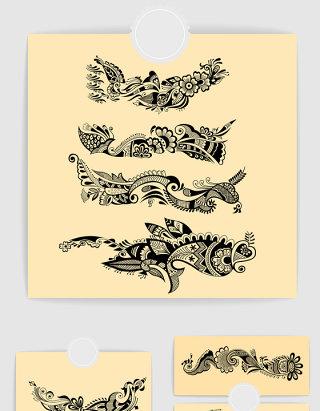 矢量时尚手绘装饰花纹图案