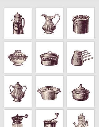 手绘复古欧式厨房生活用品矢量元素