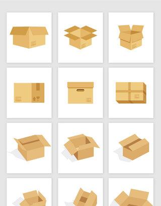 矢量包裹纸箱元素