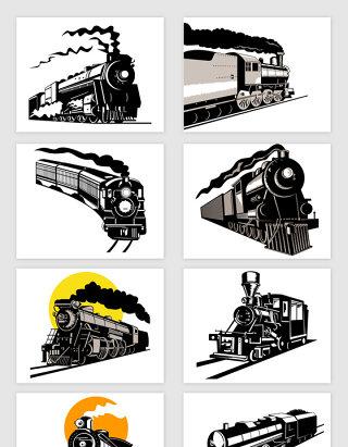 矢量黑色手绘老式火车列车剪影插图