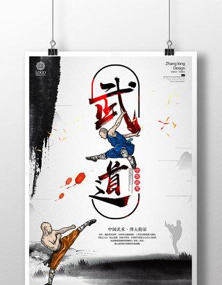 中国风武术文化功夫培训教育海报