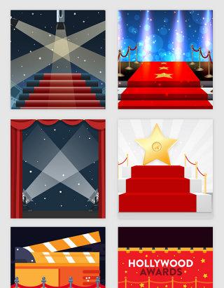 亮丽红毯光效舞台明星矢量素材