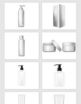 女性化妆品瓶子的矢量素材