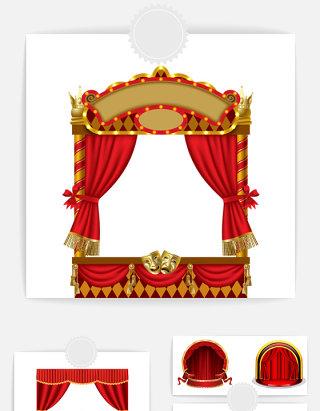 红色幕布设计素材