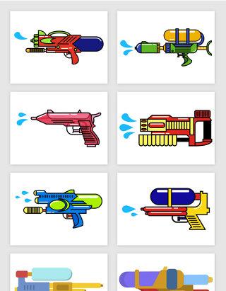 简笔插画水枪玩具彩色矢量图形