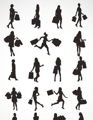 女人购物剪影素材矢量图形图标