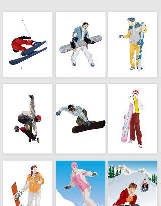 矢量时尚滑雪运动人物插图