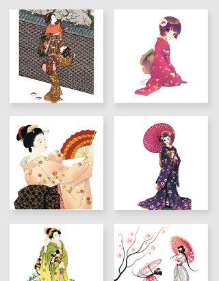 手绘日本和服少女素材