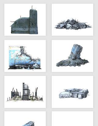 高清免抠废墟建筑素材
