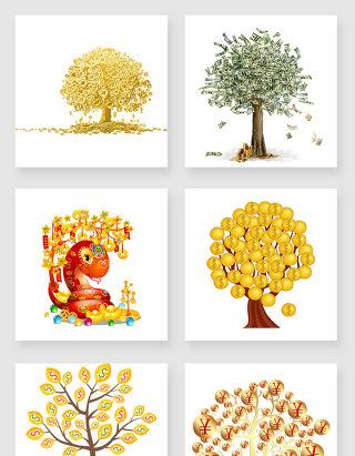 不规则图形摇钱树设计素材