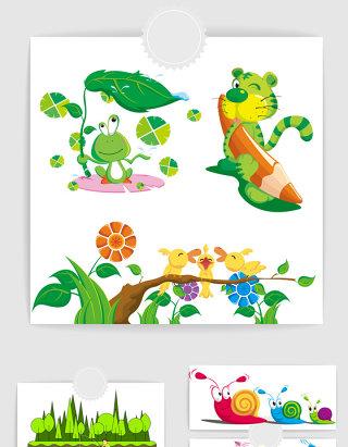 可爱青蛙呱呱小老虎蜗牛矢量图形
