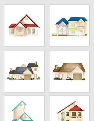 各种卡通房子矢量