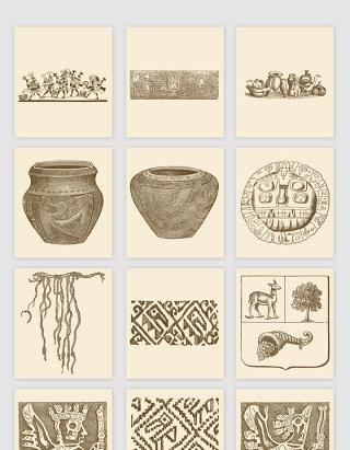 手绘古典陶瓷花纹纹理矢量素材