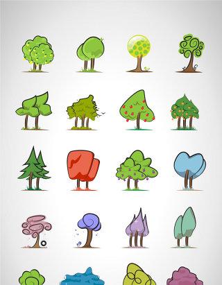 矢量绿色卡通树木素材