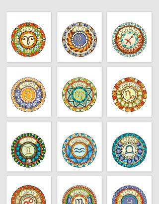 手绘十二星座图标设计素材