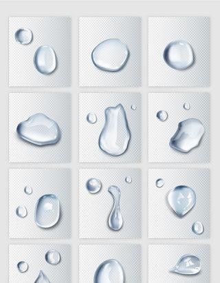 透明水珠水滴矢量元素