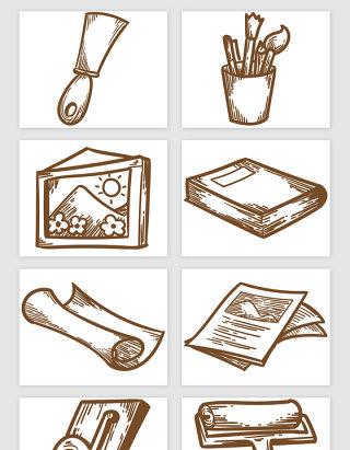 原始印刷手绘矢量素材