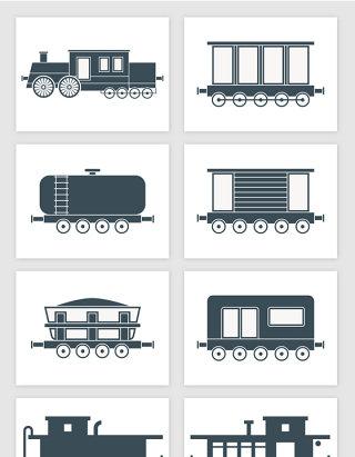 卡通火车厢客车货运车剪影插画矢量图形