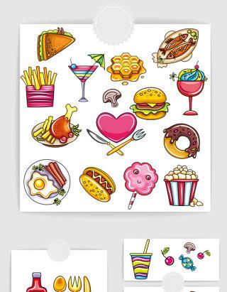 矢量手绘卡通快餐美食元素