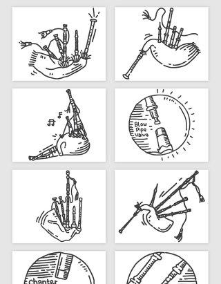 手绘音乐管弦乐器的矢量素材