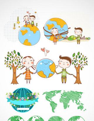 卡通情侣爱护地球素材