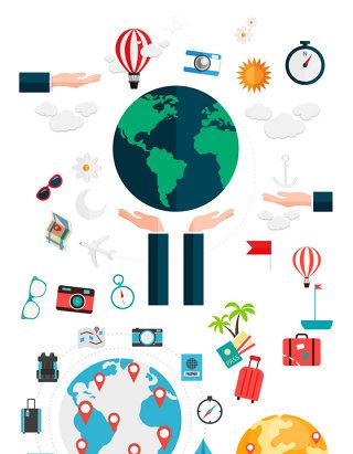 卡通地球商务旅行素材