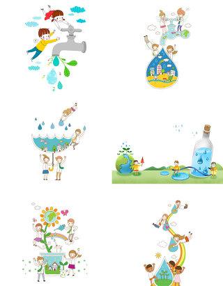 卡通人物png图片节约用水广告元素