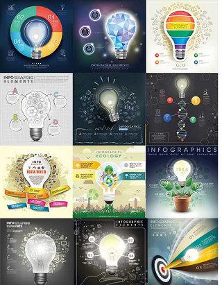 灯泡与商务图表矢量素材