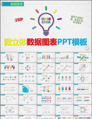 150张微立体数据图表PPT模板