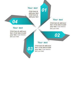 风车形四项并列PPT图表模板
