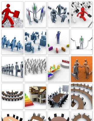 立体小人PPT素材商务背景立体3D人物