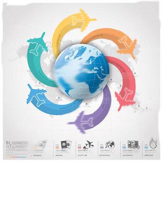 世界地图时尚信息科技图表设计矢量