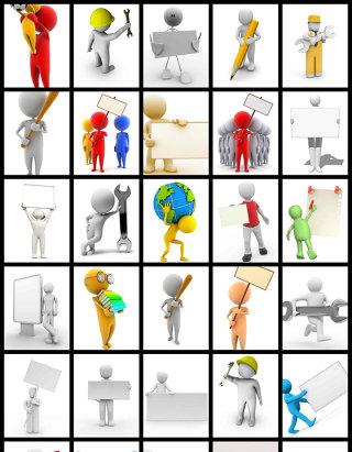 商务团队工地类型ppt素材3D举牌动作